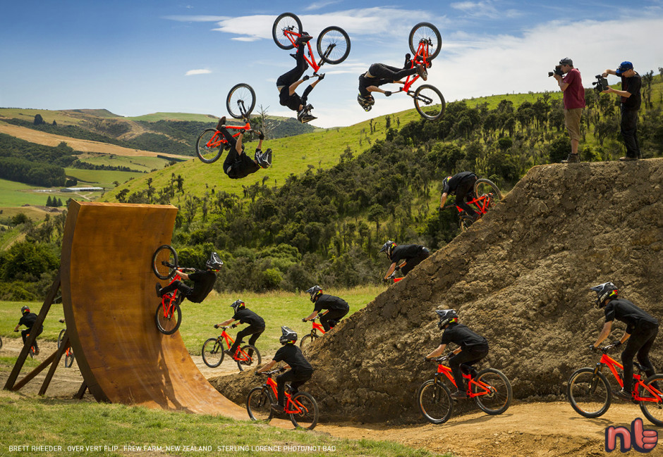 Brett Rheeder goes over vert on the Frew Farm in Winton, New Zealand