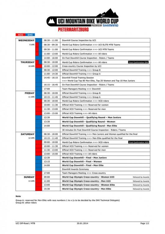 Pietermaritzburg 2014 programma gara