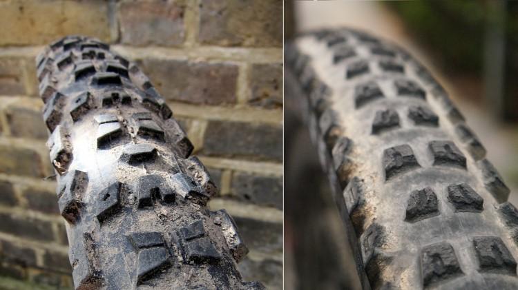 Aggressive tread pattern and dual-compound rubber