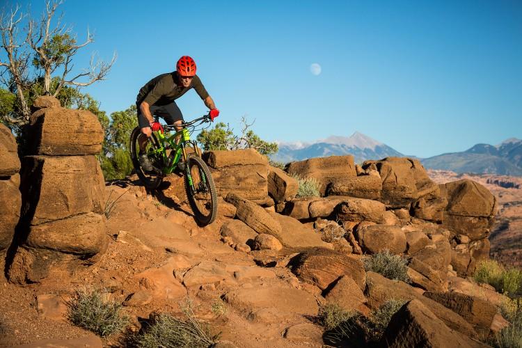Tim Bateman mountian biking on the Captian Ahab trail, Moab, Utah.