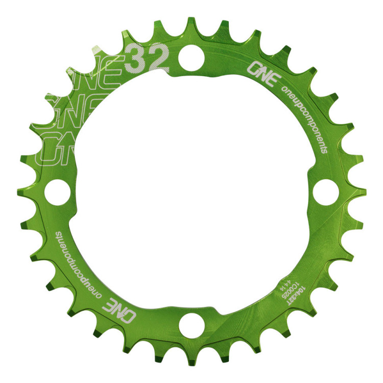 OneUp-Components-32T-104BCD-Narrow-Wide-Chainring-Green-Front