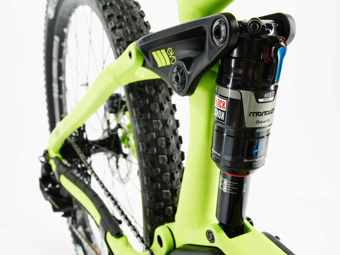 The suspension rate is better as they have been able to use a longer shock and thus improve the rear suspension performance compared to other bikes on the market.