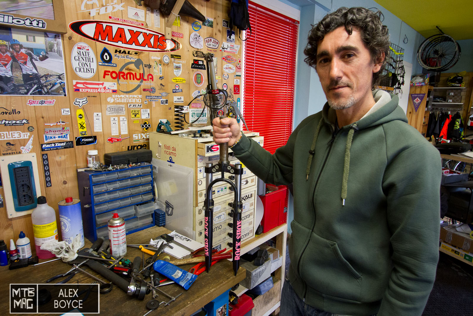 Antonio Pucci with his first suspension fork.