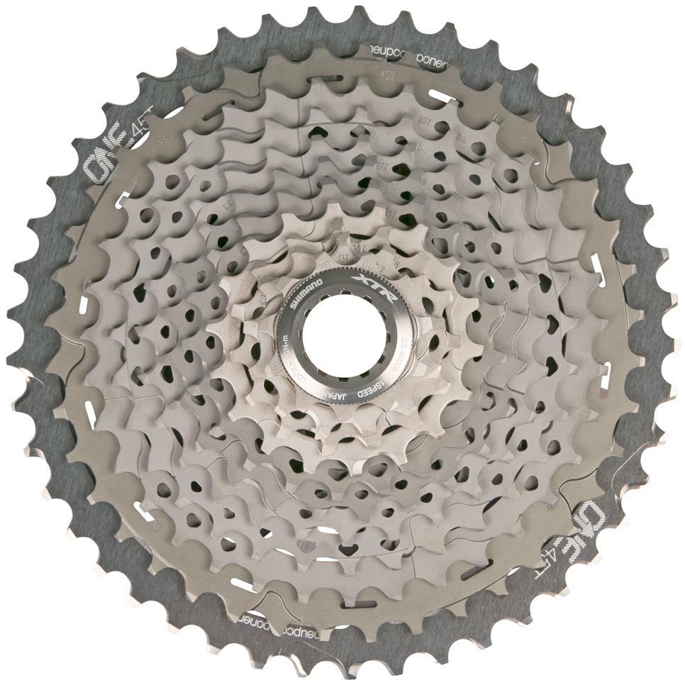 OneUp-Components-45T-11-Speed-Shimano-Sprocket-Assembled-With-XTR-Cassette-Front-GRY-966-