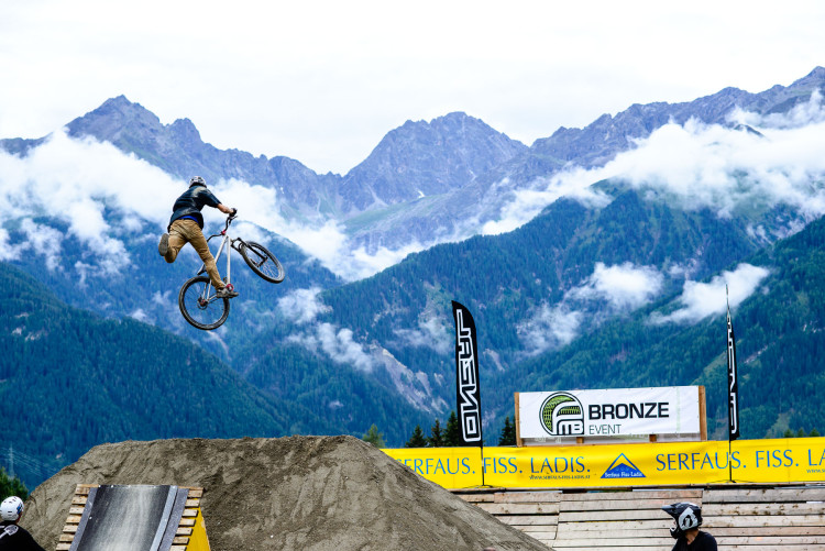A contestant during the first O´Neal Rookies Slopestyle, FMB Worldtour – Bronze,  during the Kona MTB Festival Serfaus-Fiss-Ladis.ROOKIES in Tyrol, Austria, on August 9, 2014. Free image for editorial usage only: Photo by Felix Schüller.