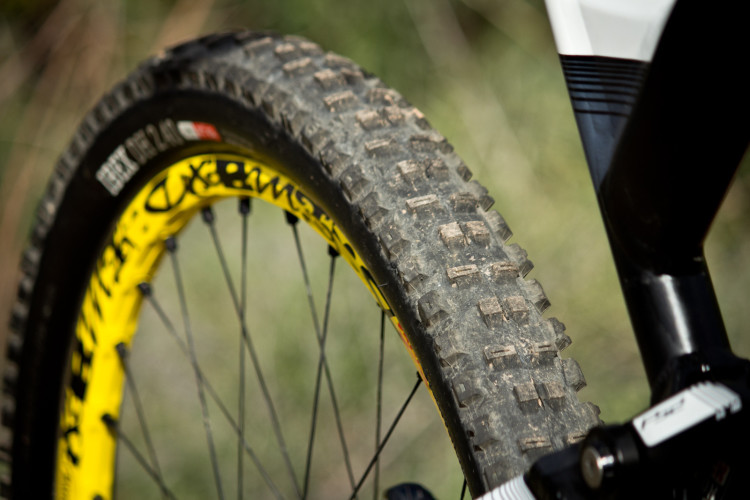 The Onza-Ibex is a perfect rear tire on this kind of terrain: perpendicular knobs provide high braking grip