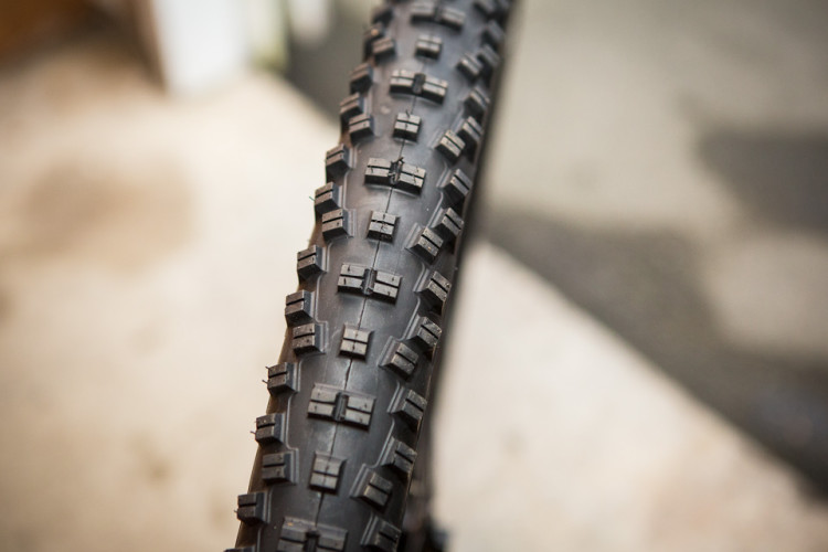 The WTB Vigilante, with tall and widely spaced knobs, is a good tire on soft terrain.