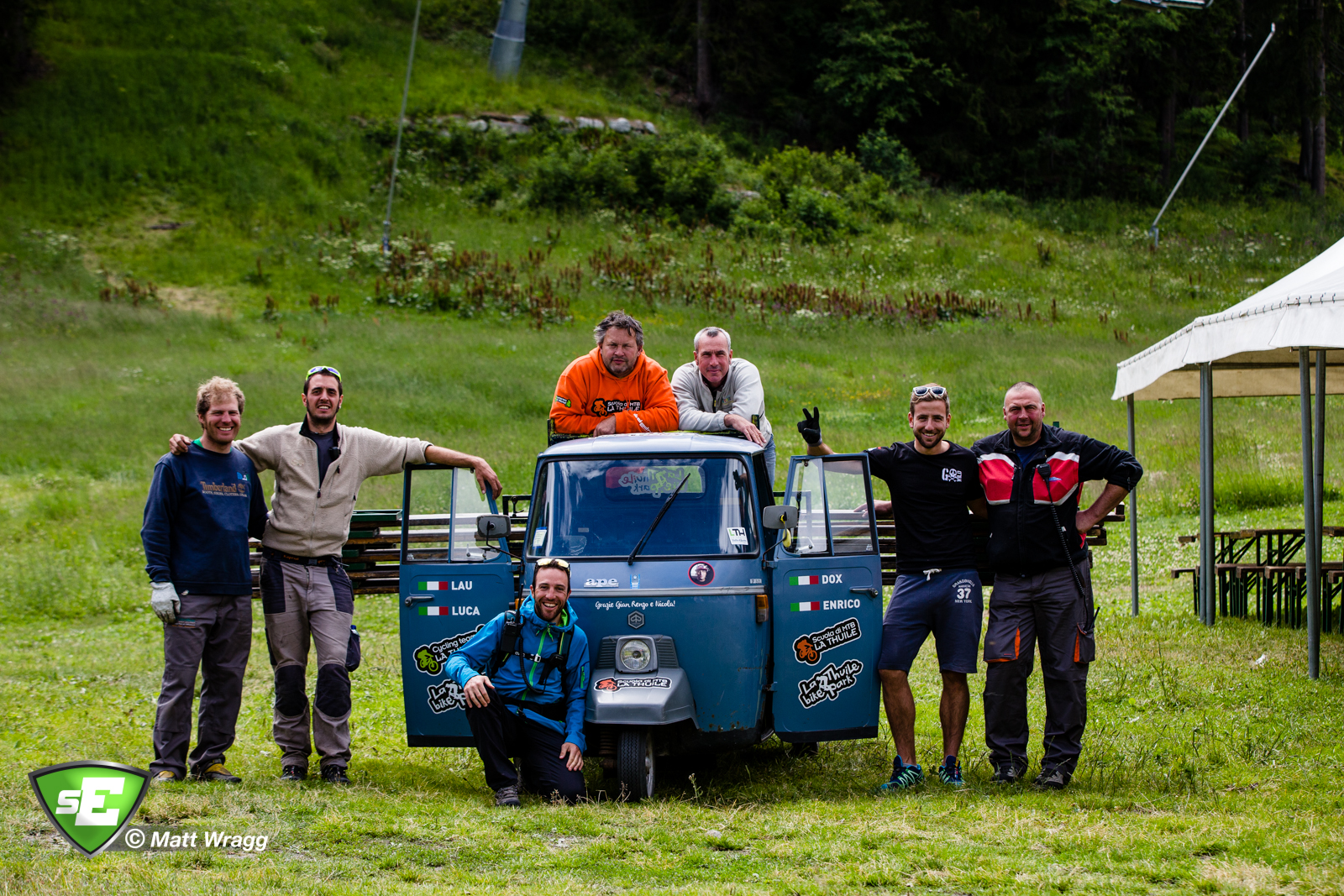 Part of the local organisation with their custom-painted Ape. EWS Rd 4, La Thuile Photo by Matt Wragg