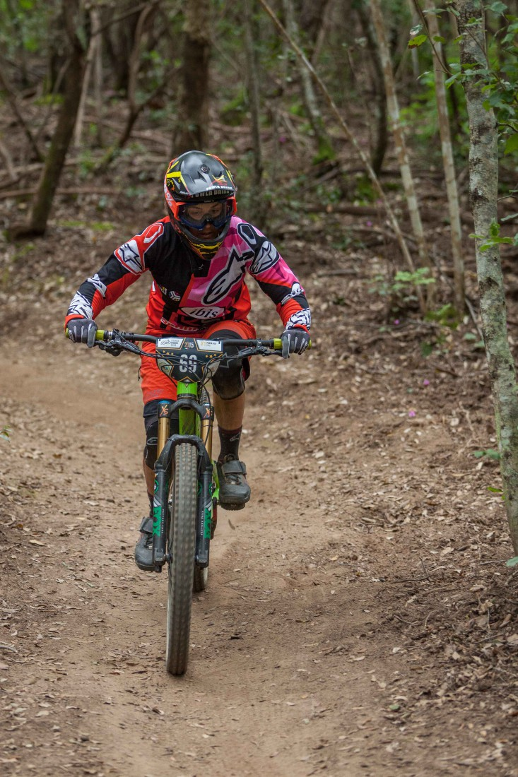 Valentina Macheda from Italy races down the stage 1 during the first stop of the European Enduro Series in Punta Ala, Italy, on April 26, 2015. Free image for editorial usage only: Photo by Antonio López Ordóñez
