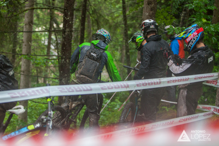 Saturday training at the 1st UEC MTB Enduro European Championships in Kirchberg, Tyrol, Austria, on June 20, 2015. Free image for editorial usage only: Photo by Antonio López Ordóñez.