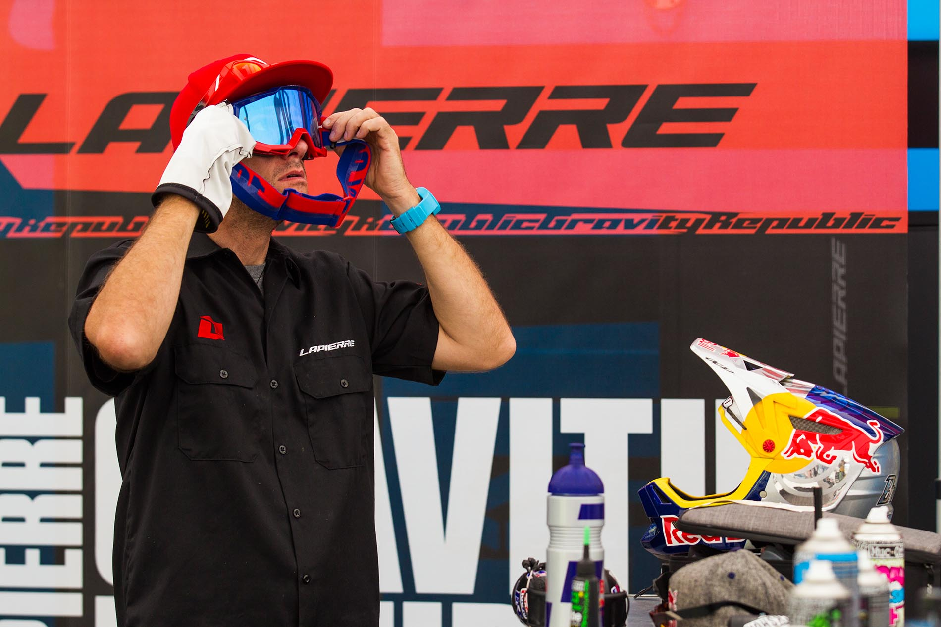 Loic's mechanic is even responsible for the cleanliness of his eyewear.