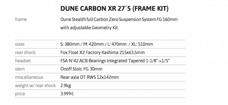 Dune 2016 Carbon Frame specs