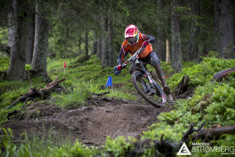 Anneke Beerten of the Netherlands races down stage 1 during the 1st UEC MTB Enduro European Championships in Kirchberg, Tyrol, Austria, on June 21, 2015. Free image for editorial usage only: Photo by Manfred Stromberg