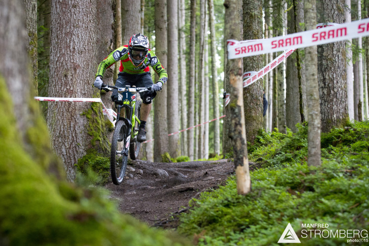 Jérôme Clémentz of France races down stage 1 during the 1st UEC MTB Enduro European Championships in Kirchberg, Tyrol, Austria, on June 21, 2015. Free image for editorial usage only: Photo by Manfred Stromberg