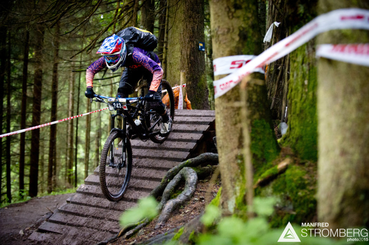 Daniela Michel of Switzerland races down stage 1 during the 1st UEC MTB Enduro European Championships in Kirchberg, Tyrol, Austria, on June 21, 2015. Free image for editorial usage only: Photo by Manfred Stromberg