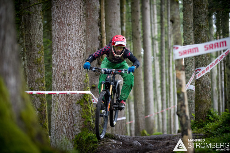 Benedikt Purner racing stage 1 of the 1st UEC MTB Enduro European Championships in Kirchberg, Tyrol, Austria, on June 21, 2015. Free image for editorial usage only: Photo by Manfred Stromberg