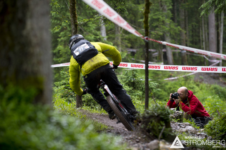 Travor Worsey shooting stage 1 of the 1st UEC MTB Enduro European Championships in Kirchberg, Tyrol, Austria, on June 21, 2015. Free image for editorial usage only: Photo by Manfred Stromberg