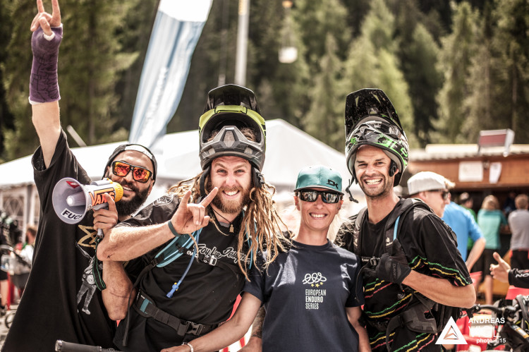 Racers in the finish area during the 3rd stop of the European Enduro Series at Reschenpass, Austria, on July 26, 2015. Free image for editorial usage only: Photo by Andreas Vigl