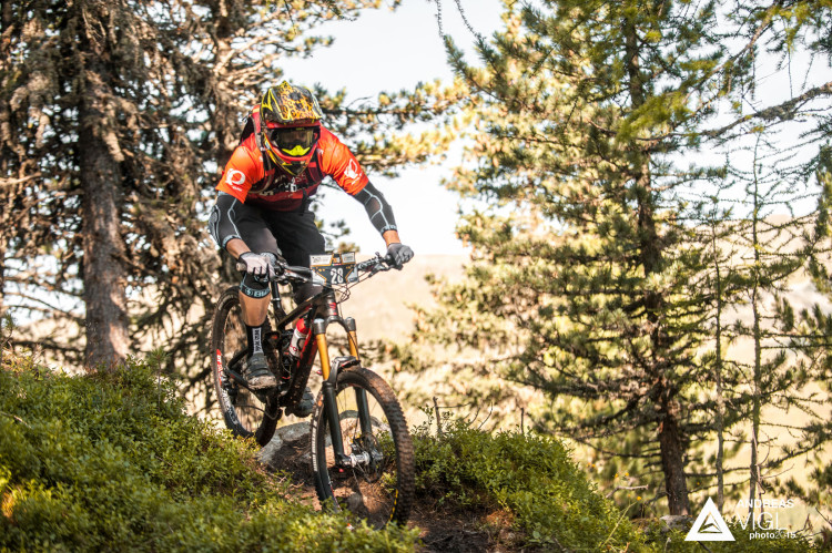 Remo HEUTSCHI of Switzerland races down the stage No. 1 during the 3rd stop of the European Enduro Series at Reschenpass, Austria, on July 26, 2015. Free image for editorial usage only: Photo by Andreas Vigl