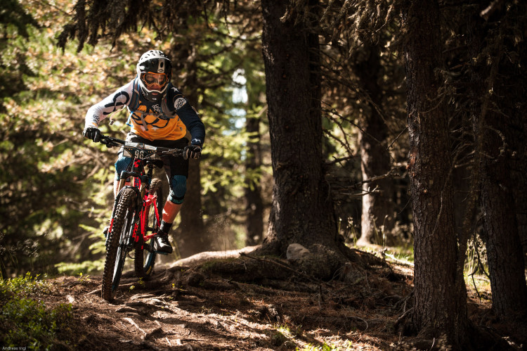 Derek LAUGHLAND from Great Britain during the training for the 3rd stop of the European Enduro Series at Reschenpass, Austria, on July 25, 2015. Free image for editorial usage only: Photo by Andreas Vigl