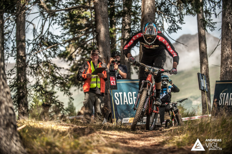 Max LEITSBERGER of Austria races down the stage No. 3 during the 3rd stop of the European Enduro Series at Reschenpass, Austria, on July 26, 2015. Free image for editorial usage only: Photo by Andreas Vigl