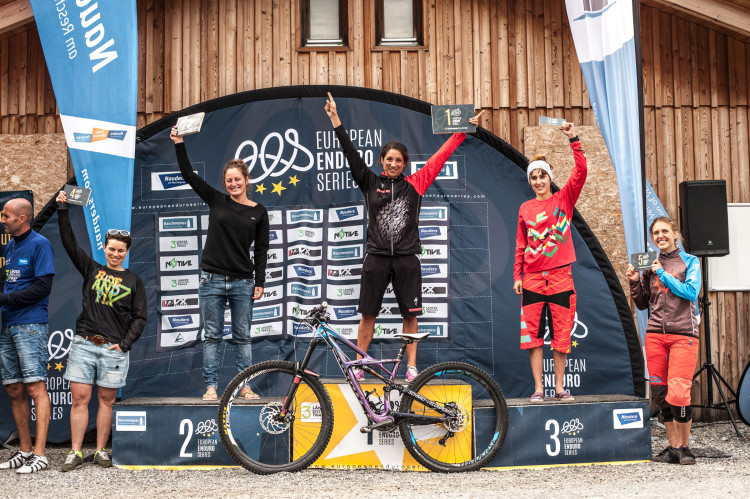 Category Elite Women: Second place Lisa POLICZKA (GER), winner Monika BÜCHI (SUI), third place Sandra BÖRNER (GER) celebrate with their trophies during the 3rd stop of the European Enduro Series at Reschenpass, Austria, on July 26, 2015. Free image for editorial usage only: Photo by Andreas Vigl