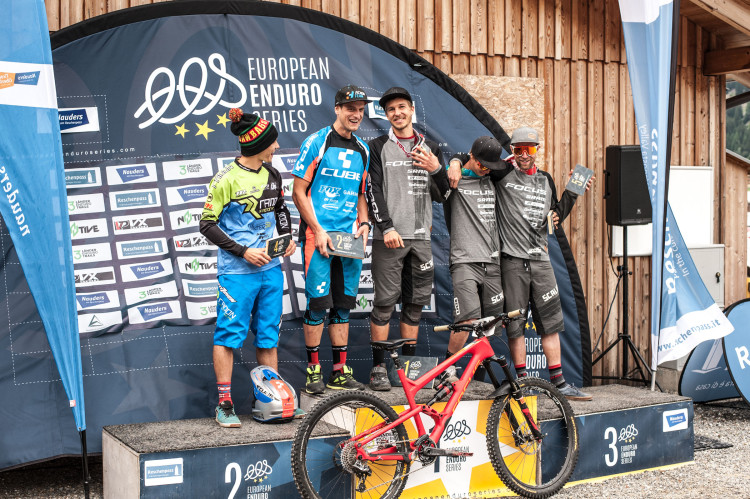 Category Elite Men: Second place Gustav WILDHABER (SUI), winner Markus REISER (GER), third place Tobias REISER (GER) celebrate with their trophies during the 3rd stop of the European Enduro Series at Reschenpass, Austria, on July 26, 2015. Free image for editorial usage only: Photo by Andreas Vigl