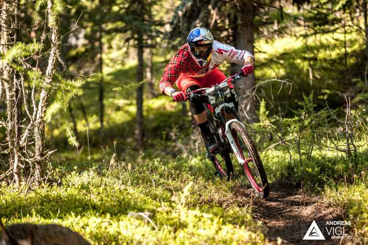 Michael PROKOP of Czech Republic races down the stage No. 1 during the 3rd stop of the European Enduro Series at Reschenpass, Austria, on July 26, 2015. Free image for editorial usage only: Photo by Andreas Vigl