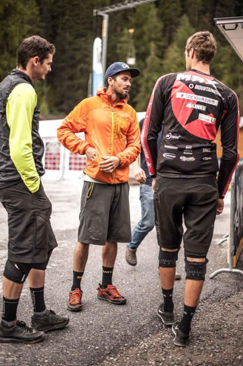 Benny PURNER of Austria in the pit area at the 3rd stop of the European Enduro Series at Reschenpass, Austria, on July 25, 2015. Free image for editorial usage only: Photo by Andreas Vigl