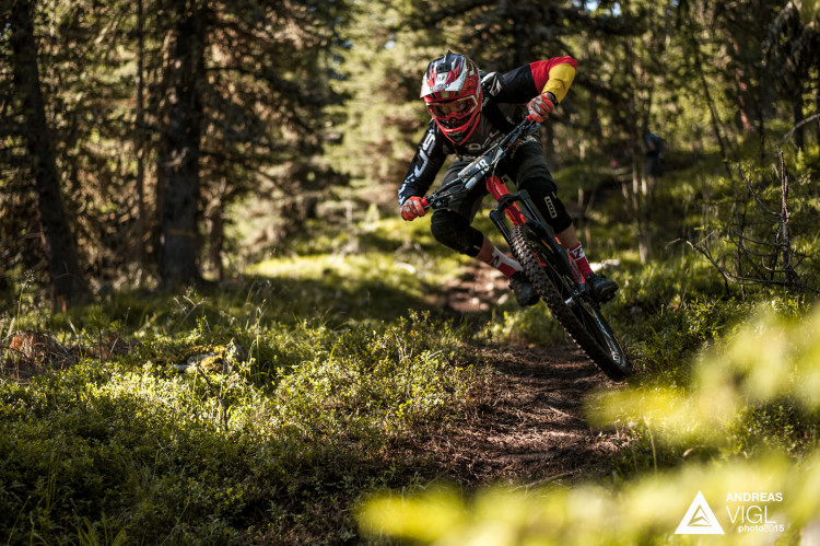 Fabian SCHOLZ of Germany races down the stage No. 1 during the 3rd stop of the European Enduro Series at Reschenpass, Austria, on July 26, 2015. Free image for editorial usage only: Photo by Andreas Vigl