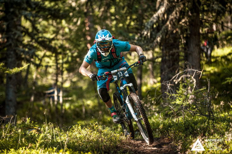 Max SCHUMANN of Germany races down the stage No. 1 during the 3rd stop of the European Enduro Series at Reschenpass, Austria, on July 26, 2015. Free image for editorial usage only: Photo by Andreas Vigl