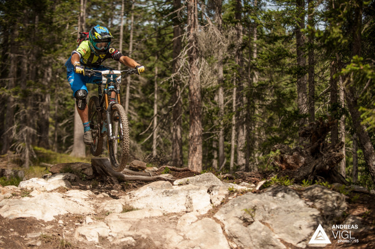 James SHIRLEY of Great Britain races down the stage No. 4 during the 3rd stop of the European Enduro Series at Reschenpass, Austria, on July 26, 2015. Free image for editorial usage only: Photo by Andreas Vigl