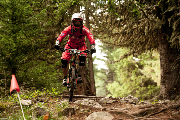 Jörg GAUKEL from Germany during the training for the 3rd stop of the European Enduro Series at Reschenpass, Austria, on July 25, 2015. Free image for editorial usage only: Photo by Andreas Vigl