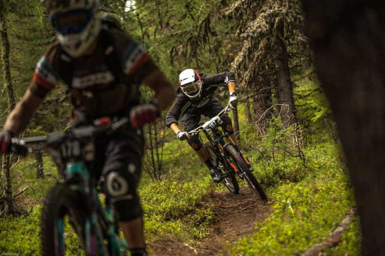 Competitors during the training for the 3rd stop of the European Enduro Series at Reschenpass, Austria, on July 25, 2015. Free image for editorial usage only: Photo by Andreas Vigl