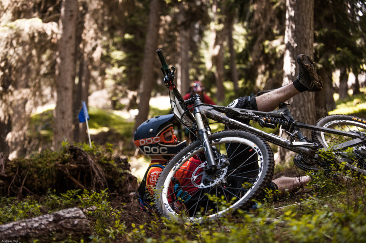 Competitor during the training for the 3rd stop of the European Enduro Series at Reschenpass, Austria, on July 25, 2015. Free image for editorial usage only: Photo by Andreas Vigl