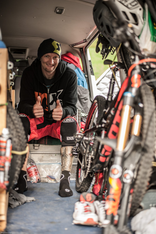 Competitor in the pit area at the 3rd stop of the European Enduro Series at Reschenpass, Austria, on July 25, 2015. Free image for editorial usage only: Photo by Andreas Vigl