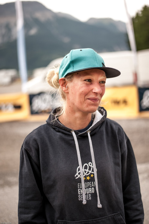 Sabine OSWALD in the pit area at the 3rd stop of the European Enduro Series at Reschenpass, Austria, on July 25, 2015. Free image for editorial usage only: Photo by Andreas Vigl
