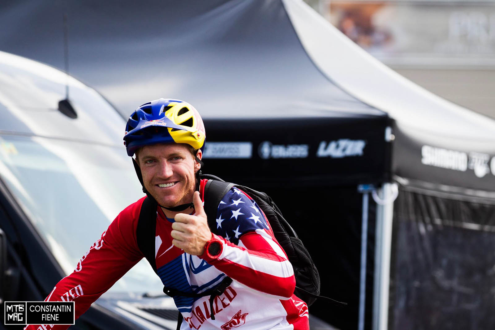 Aaron Gwin is all smiles.  We think he probably took his qualifier easy.  Could the savage american repeat Windham 2012 and win on 4th of July weekend?
