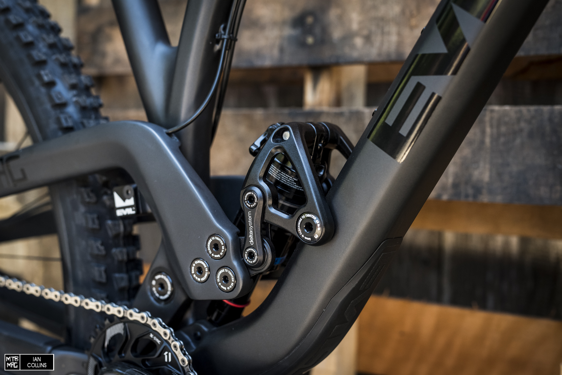 "The heart of it all - DELTA system.  ""Dave's Extra Legitimate Travel Apparatus""...proprietary to EVIL bikes, this lets the user independently adjust geometry without affecting kinematics of the suspension."
