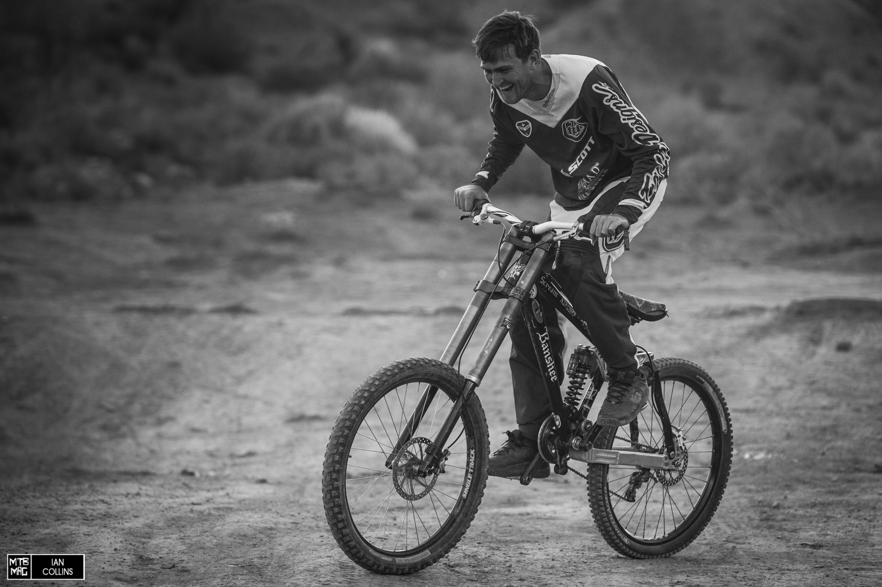Red Bull Rampage, 2014 - First ride on his new DH bike.  Actually it's Josh Bender's old Banshee.