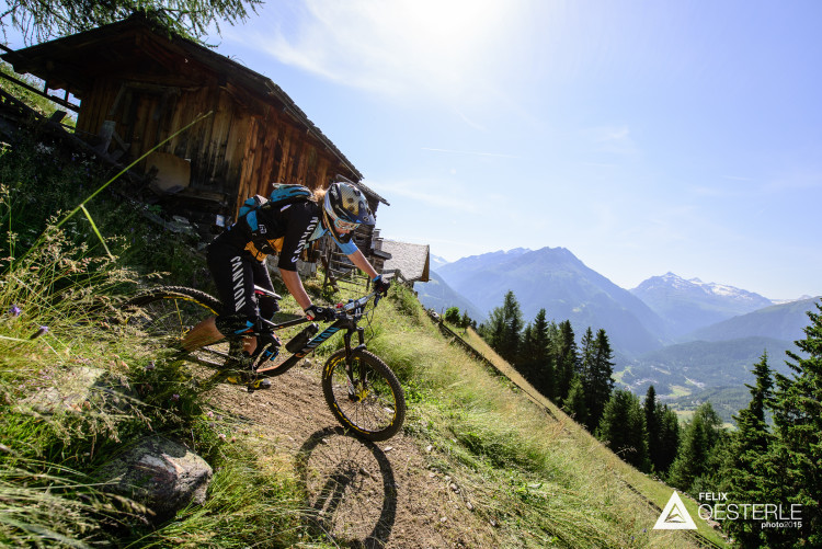 Ines THOMA (GER) on stage 1 during the 2nd stop of the European Enduro Series in Sölden, Austria, on July 05, 2015. Free image for editorial usage only: Photo by Felix Oesterle