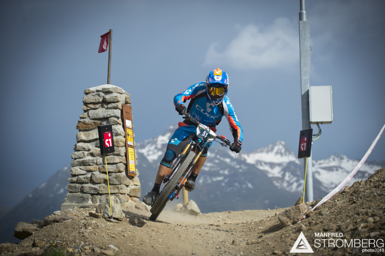 Nico Lau rails round the first corner to the prologue win of the 2nd EES in Sölden Tyrol, Austria, on July 4, 2015.Free image for editorial usage only: Photo by Manfred Stromberg