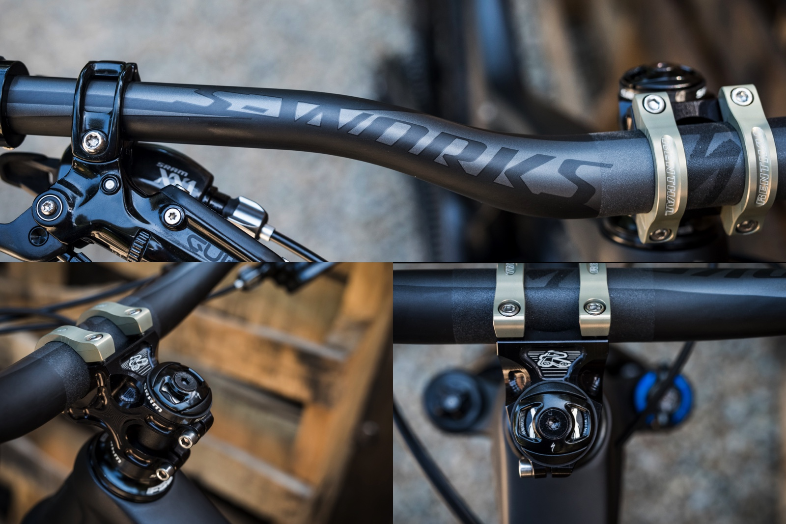 Specialized S-Works DH bar.  Carbon Fiber, 780mm wide, 240 Grams and it feels just right in your hands.  50mm Renthal Apex stem has been a proven winner for us as well.  Can't forget the SWAT EMT top cap chain tool.  Lifesaver.