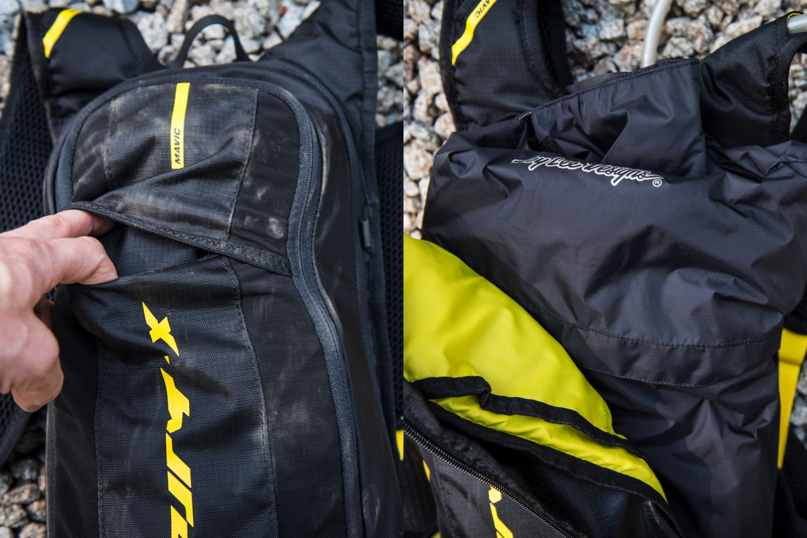 On the left is a stow area where you could jam lightweight kneepads or a shell.  On the right you can see a full internal compartment where you could do the same.