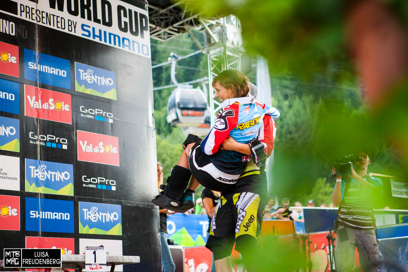 Emmeline Ragot - done with world cup...getting a lift up for the overall podiums.