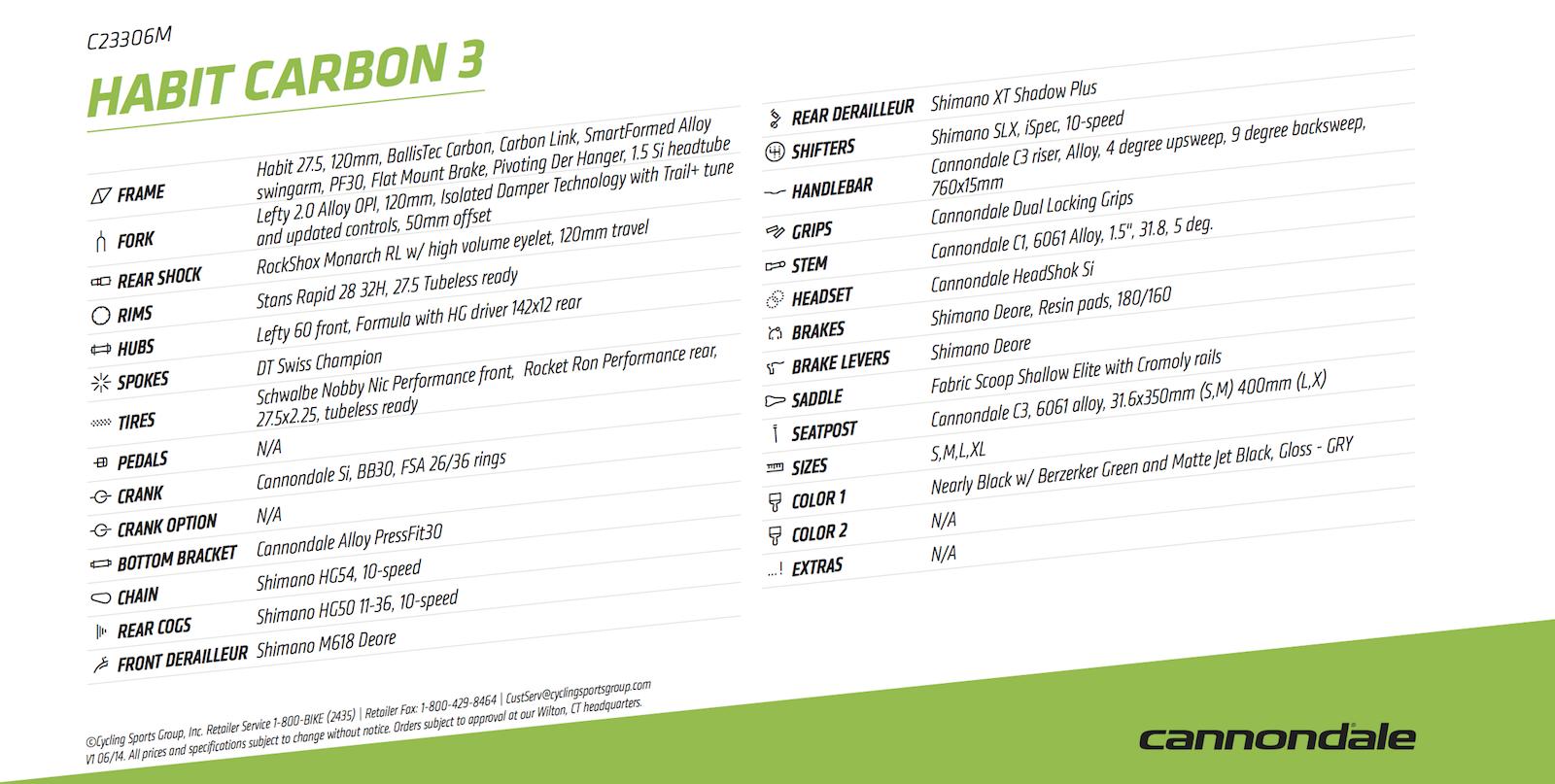 Cannondale 2016 Habit Carbon 3