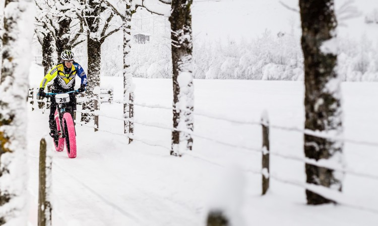 The second edition of Europe's first Snow Bike Festival will take place in GSTAAD from January 22 – 24, 2016 and will feature a 3 Day Stage Race, Eliminator Night Race, Fun Ride, Snow Bike Party & Fat Bike EXPO. Photo by: SNOW BIKE FESTIVAL/Marc Gasch
