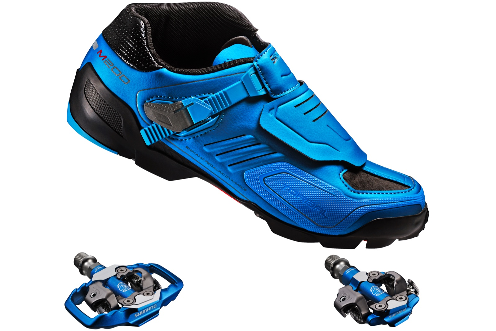 Shimano's new M200 Blue Enduro/Trail shoe with matching blue XTR style M995  trail or M990 race pedals continues the trend set by a revolutionary design  in ...