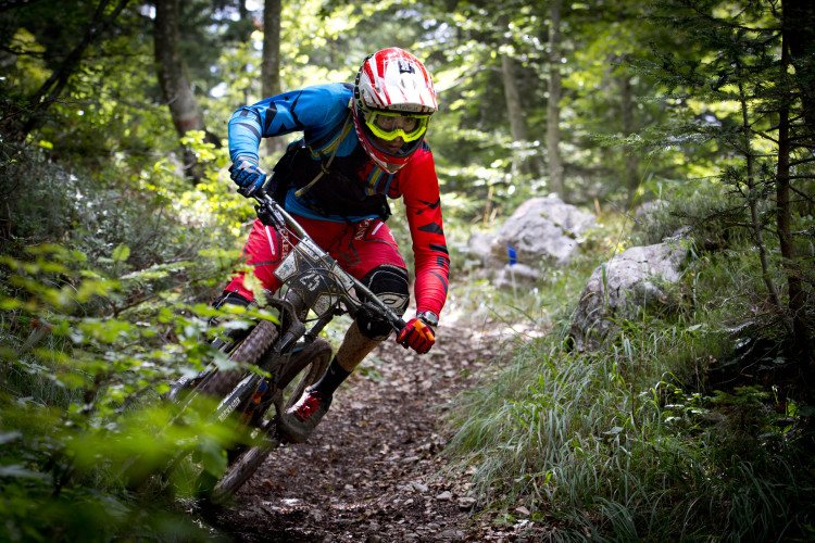 Kevin Maderegger of Austria races down stage 5 of the 4th stop of the European Enduro Seriesat Molveno-Paganella, Italy on September 06, 2015. Free image for editorial usage only: Photo by Manfred StrombergWinner of Germany races down stage 5 of the 4th stop of the European Enduro Seriesat Molveno-Paganella, Italy on September 06, 2015. Free image for editorial usage only: Photo by Manfred Stromberg