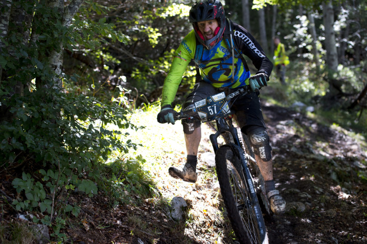 2nd of Master 50+ Roberto Masciardri of Italy on stage 4 at the 4th stop of the European Enduro Series at Molveno-Paganella, Italy on September 06, 2015. Free image for editorial usage only: Photo by Manfred Stromberg